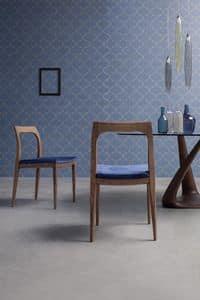 GLAM, Sedia con struttura in legno, personalizzabile con vari tessuti