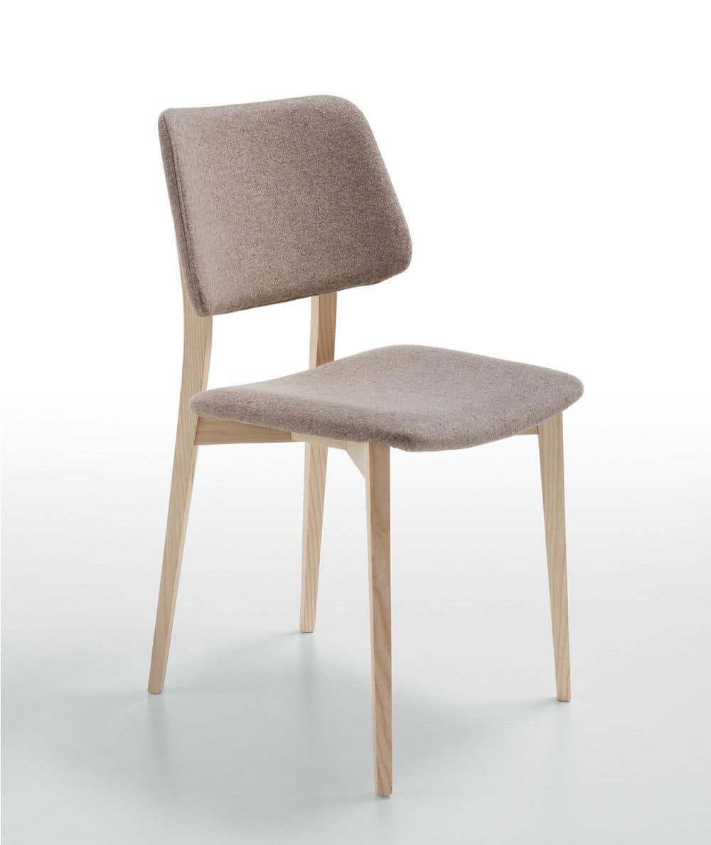 Sgabello Anni 70 Tessuto Joe Midj : Sedia in legno con seduta e schienale rivestiti pelle