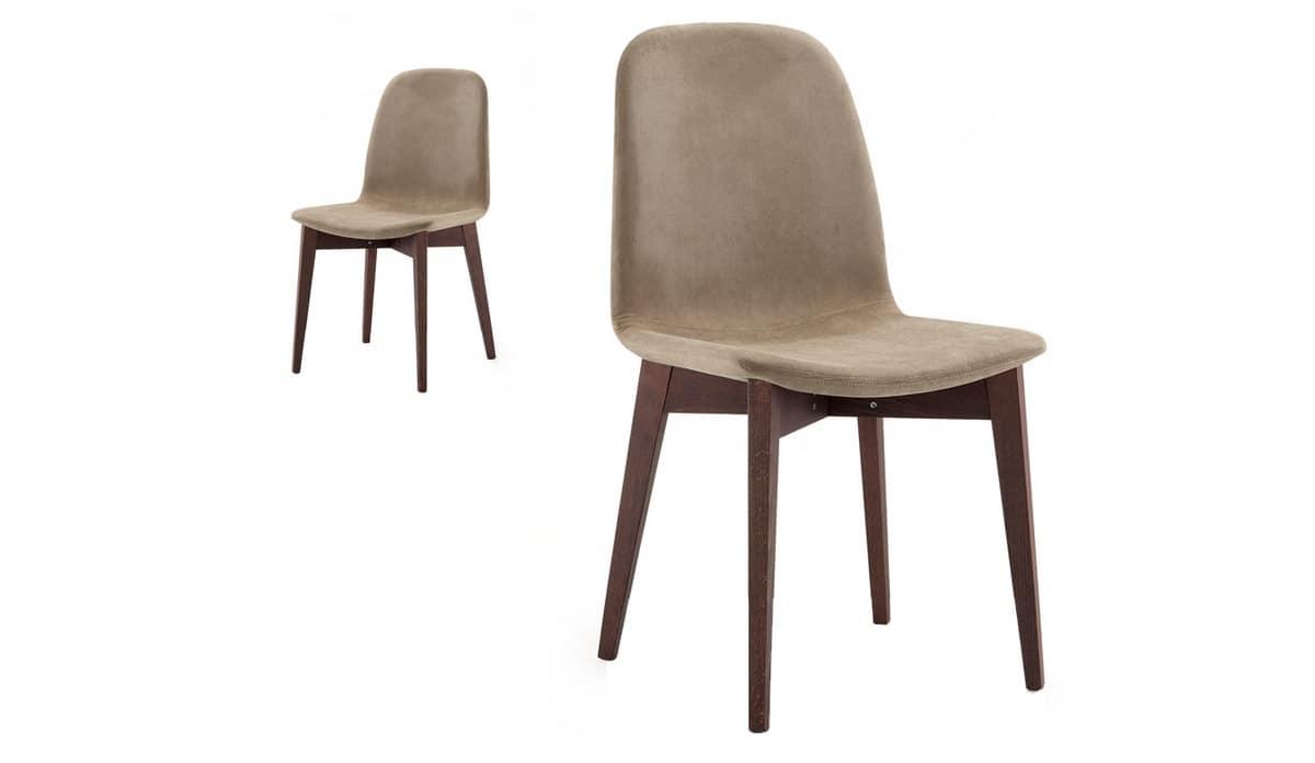 Sedia imbottita e rivestita in tessuto, gambe in legno | IDFdesign