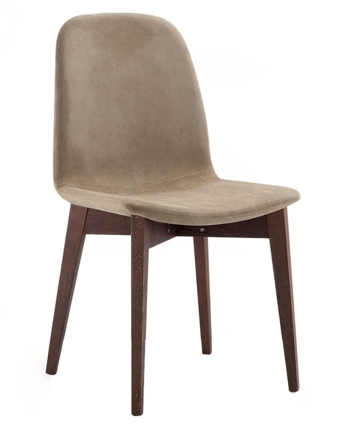 Sedia imbottita e rivestita in tessuto, gambe in legno