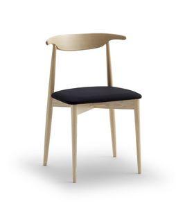 MUSICA, Sedia semplice in legno di faggio, con seduta imbottita