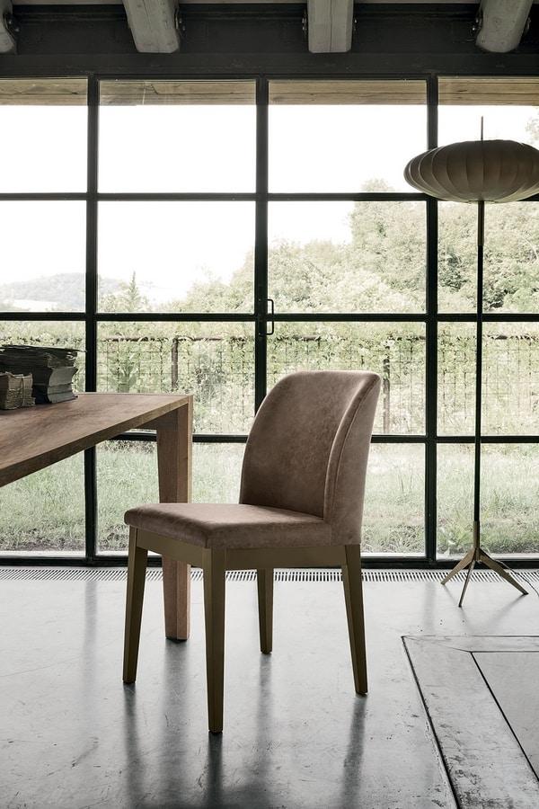 SALISBURGO SE508, Sedia in legno massello, con morbida imbottitura