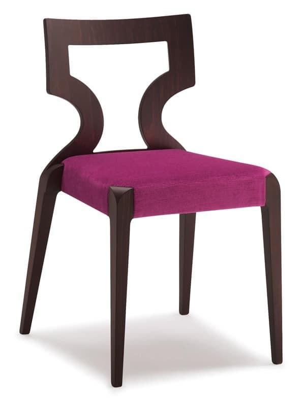 SE 152 / 1, Sedia impilabile in faggio, seduta imbottita, per hotel
