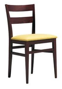 SE 47 / B, Sedia in legno, con seduta imbottita, per alberghi