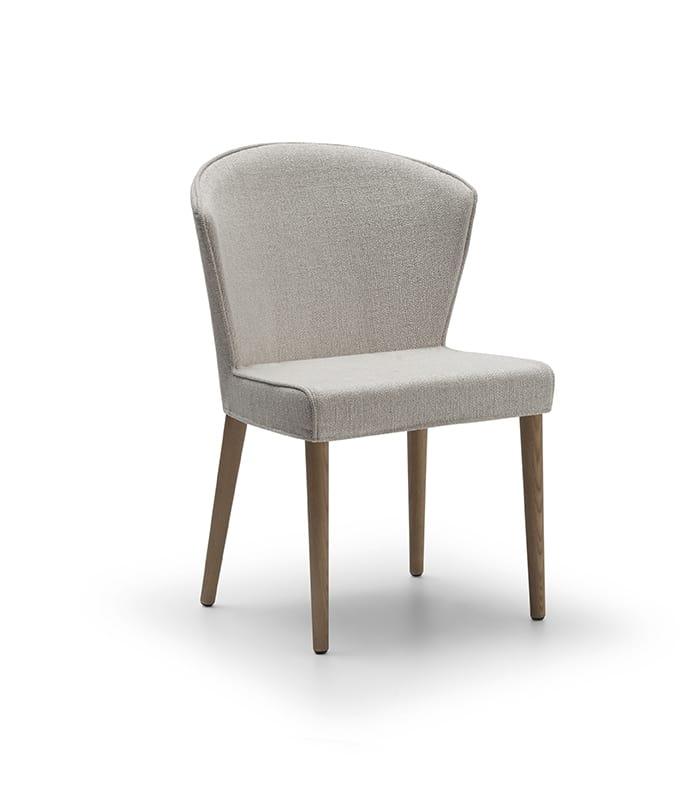 Sedia imbottita con gambe in legno colorato | IDFdesign