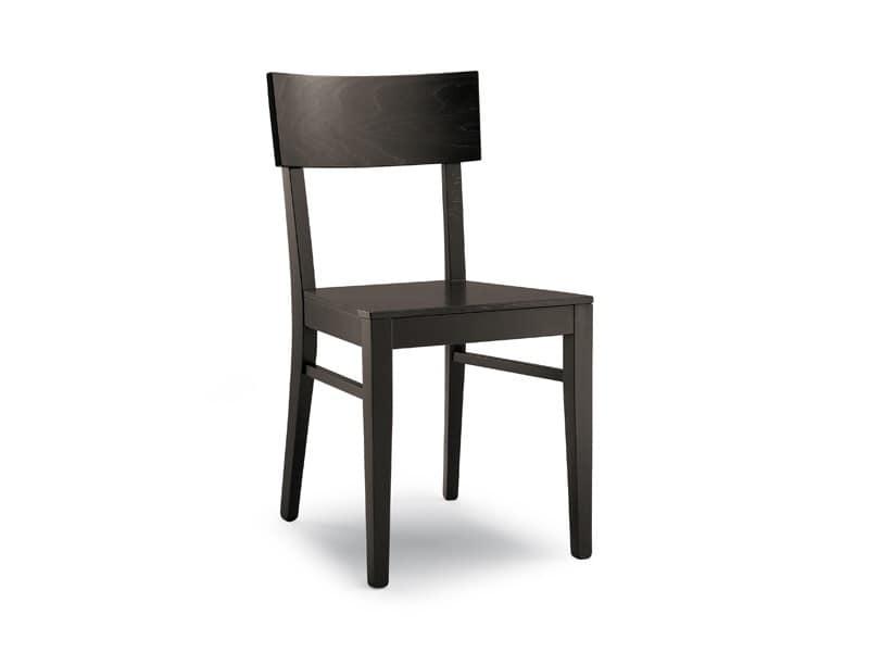 Sedia semplice in legno massello, per uso contract | IDFdesign