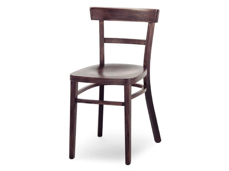 Sedia in legno senza braccioli per bar e ristoranti idfdesign