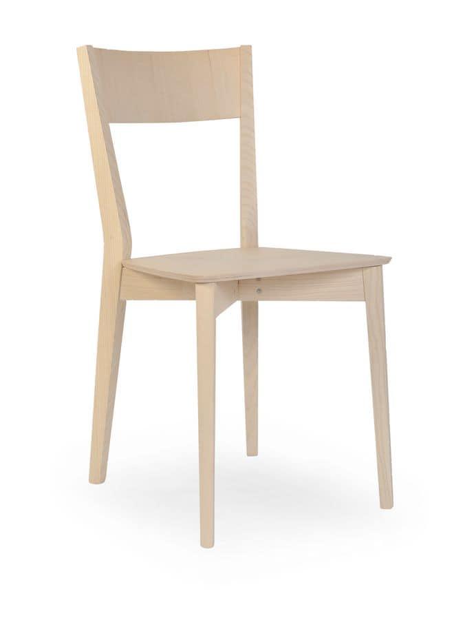 Sedia in legno massello di rovere stile essenziale for Sedie moderne design
