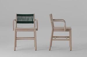 ART. 0024-IN-AR JULIE, Sedia in legno con intreccio in corda colorata