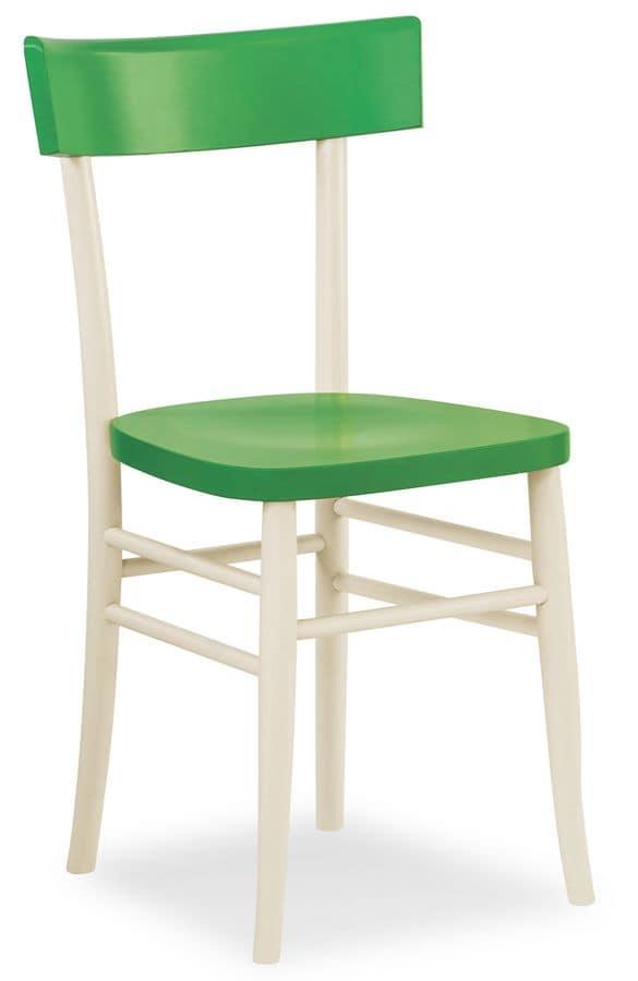 Sedia lineare in legno, per bar e ristoranti | IDFdesign