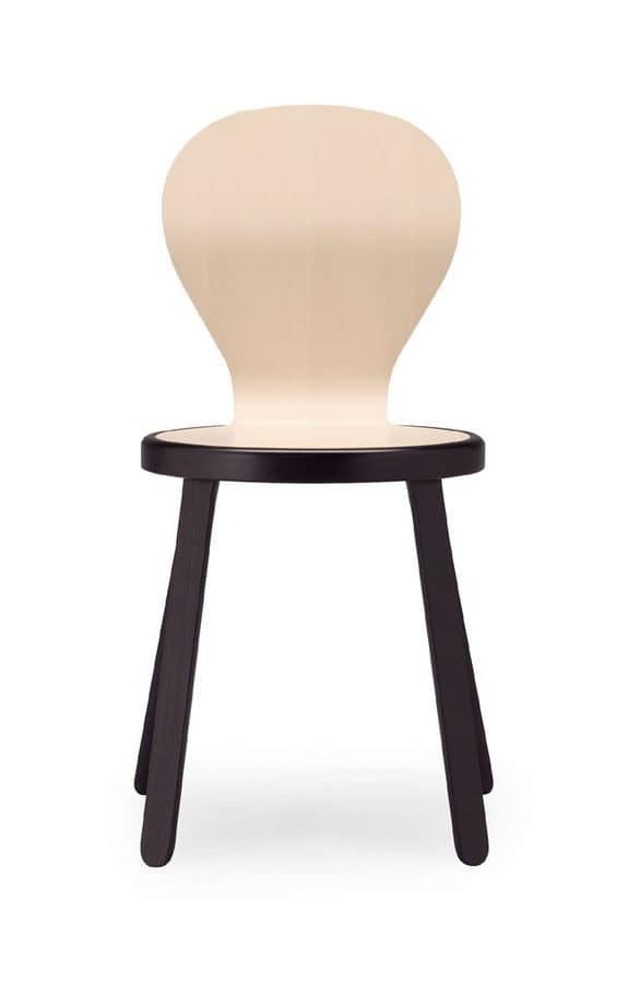 Sedia moderna in legno di faggio multistrato per for Sedia moderna bianca