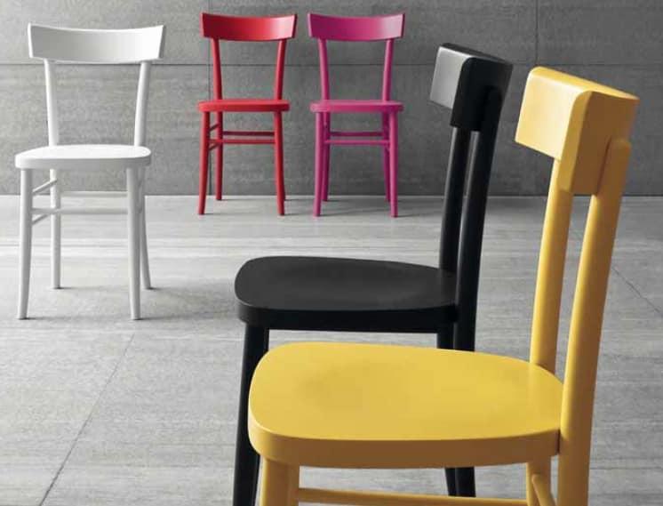 Sedie In Legno Colorate : Sedia in legno laccato colorato idfdesign