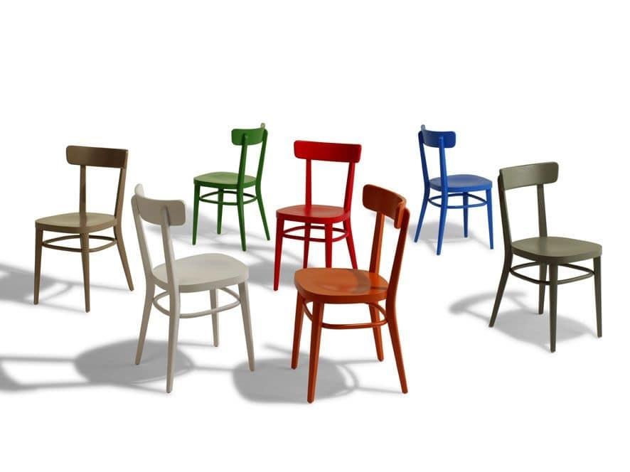 Sedia Interamente In Legno Lineare Per Bar E Osterie