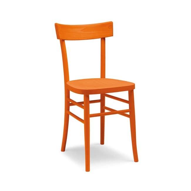 Sedia dalla linea semplice interamente in legno vari colori idfdesign - Sedie in legno design ...