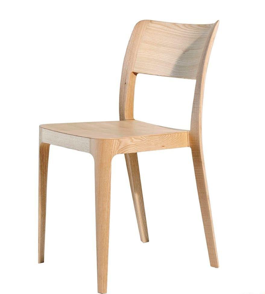 Sedia impilabile in legno diverse finiture idfdesign - Sedie in legno design ...