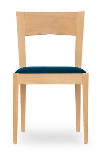 Nico, Sedia in legno per sala da pranzo e bar