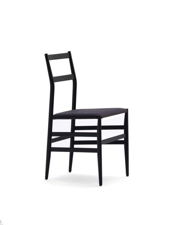 Sedia semplice in legno seduta in laminato per cucina for Sedie in legno cucina