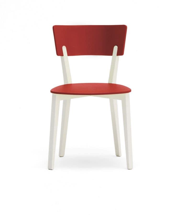 Roger, Sedia in legno massello, seduta e schienale ampi