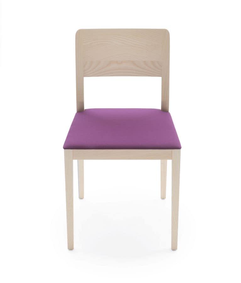 Seida, Sedia in legno di frassino o rovere, seduta imbottita