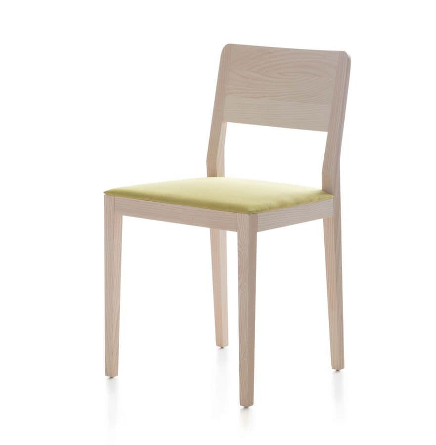 sedia in legno di frassino o rovere seduta imbottita