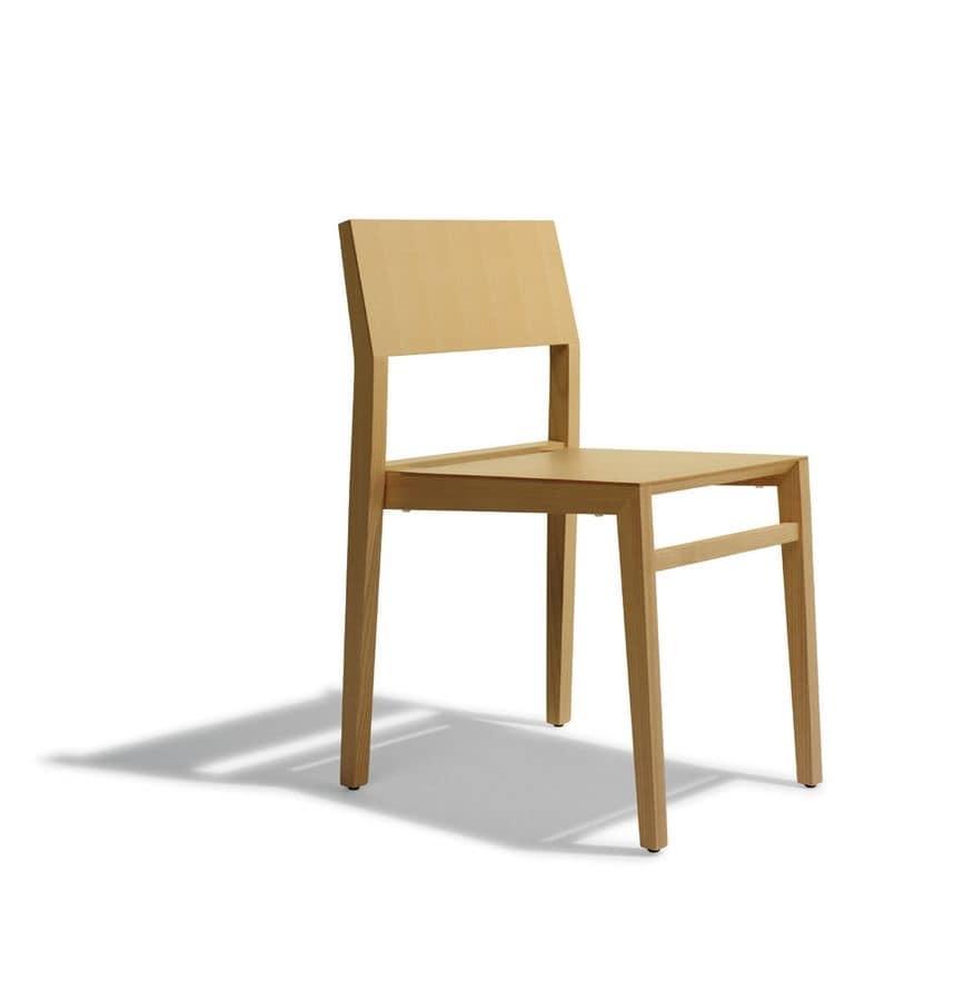 Sedia impilabile moderna in frassino per pasticceria - Sedie in legno design ...