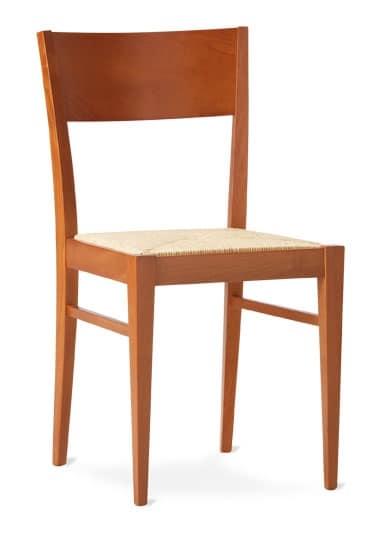 TEA, Sedia rustica lineare con seduta in paglia intrecciata