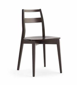 TRIS legno, Resistente sedia in legno, con seduta in mulistrato