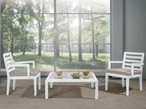Complementi Sedia 06, Sedia con seduta larga e braccioli, per salotti moderni