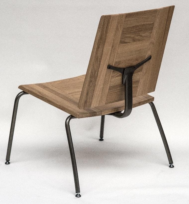 EAGLE A04, Sedia lounge in metallo e rovere