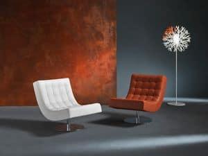 Sissi, Seduta lounge per casa moderna, in poliuretano, girevole