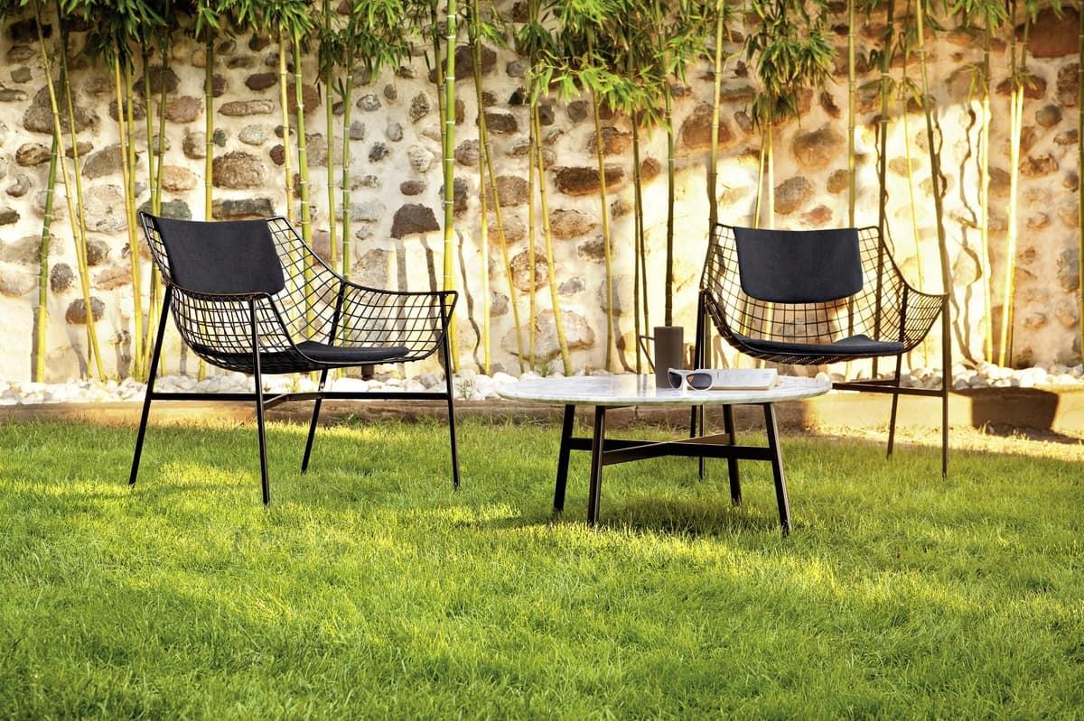 Summer set poltrona lounge, Poltrona lounge, in acciaio, imbottita, per esterni