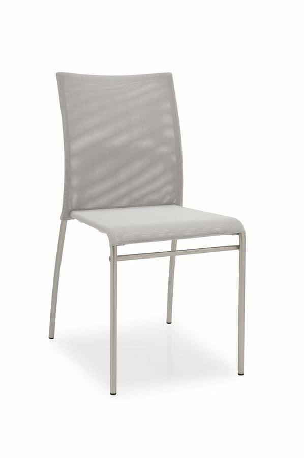 Sedia in metallo con scocca in rete, per cucine moderne | IDFdesign