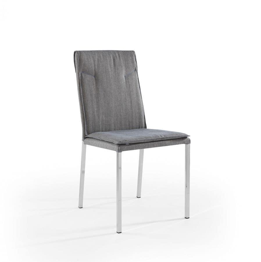 Sedia con gambe cromate e scocca imbottita idfdesign for Sedie design metallo
