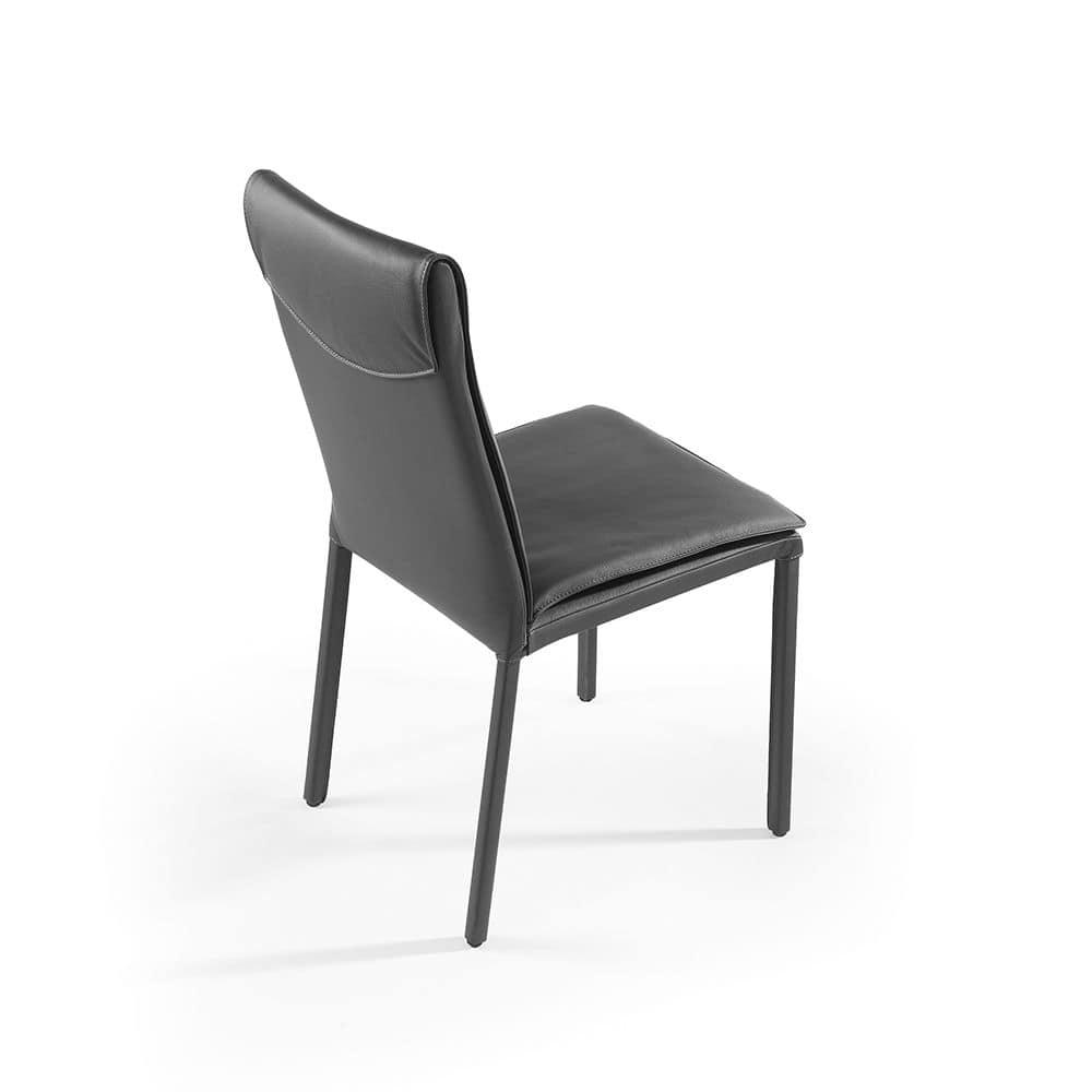 Ariel, Sedia in metallo con seduta e schienale imbottiti