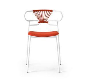 ART. 0047-MET-CROSS-IM GENOA, Sedia in metallo impilabile, con seduta imbottita