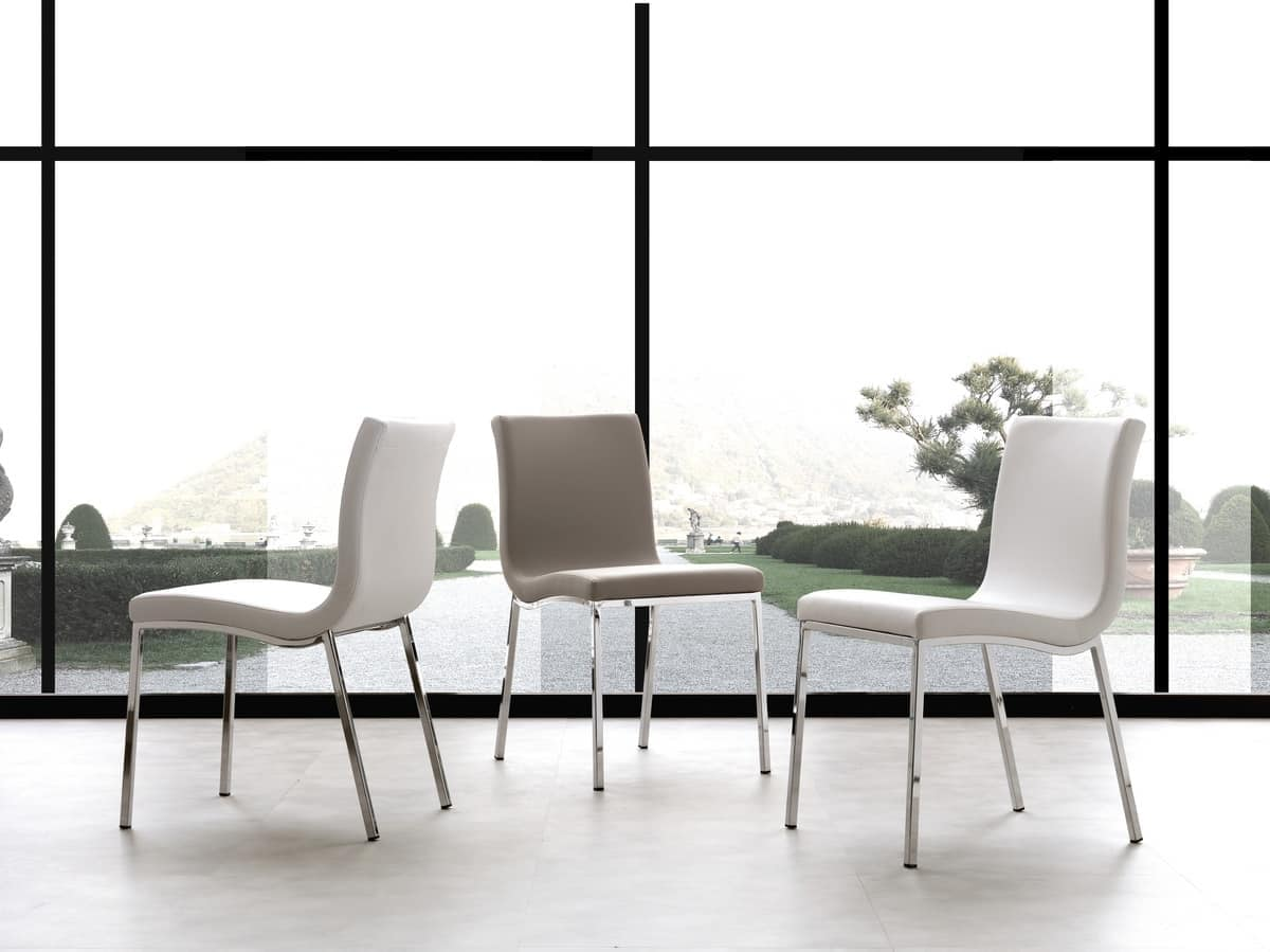 Sedia in metallo rivestita in morbida ecopelle idfdesign for Sedie design metallo