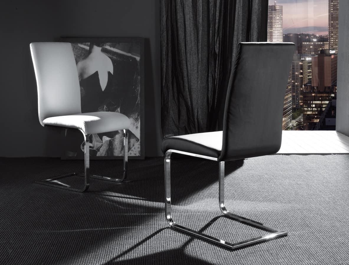Sedia con base cantilever in metallo imbottita idfdesign - Sedia cantilever ...
