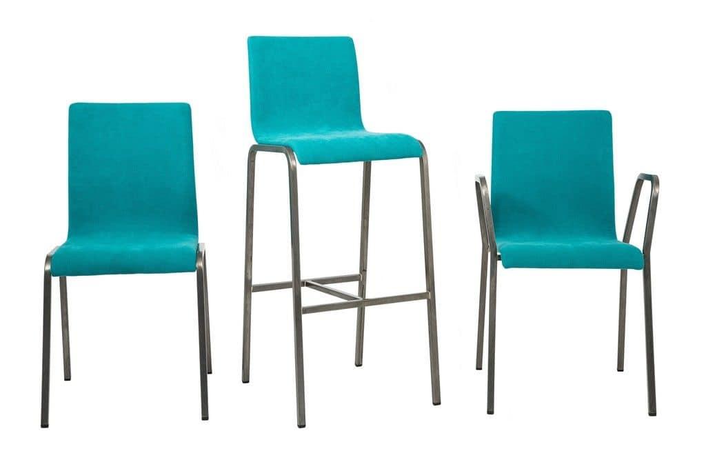 Art.Niù sedia, Sedia imbottita con base in metallo per uso residenziale e contract