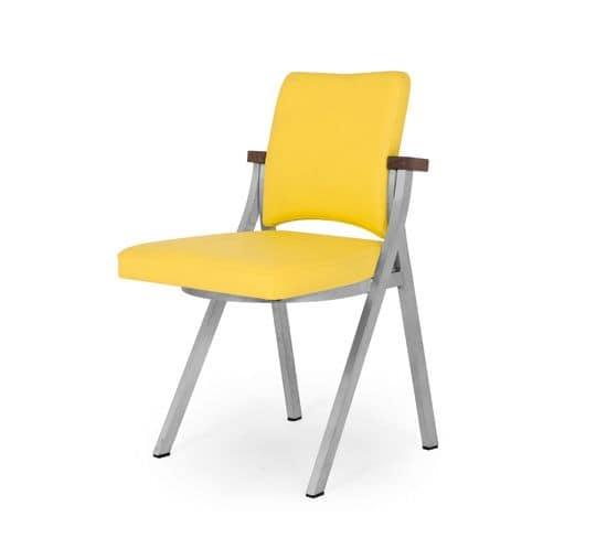 Art.Woox 2/square, Sedia in metallo verniciato, personalizzabile per materiali e finiture