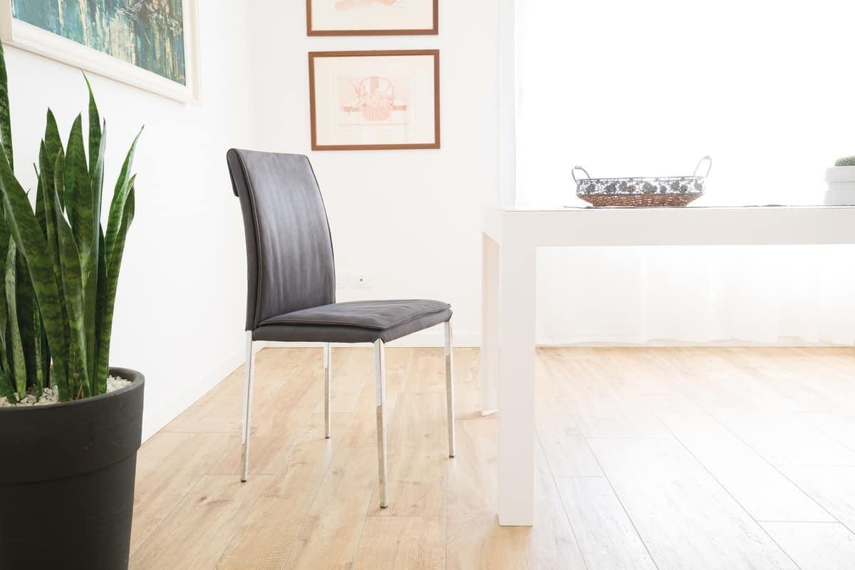 Sedia moderna con struttura in metallo cromato adatta per for Sedie in metallo per cucina