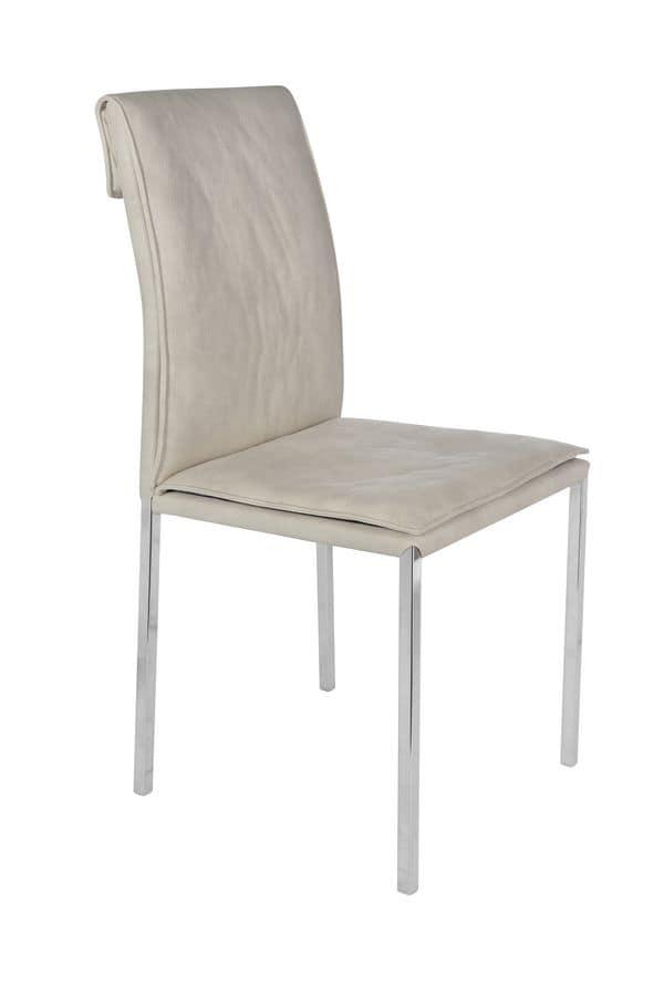 Sedia con gambe in metallo cromato e scocca imbottita for Sedie design metallo
