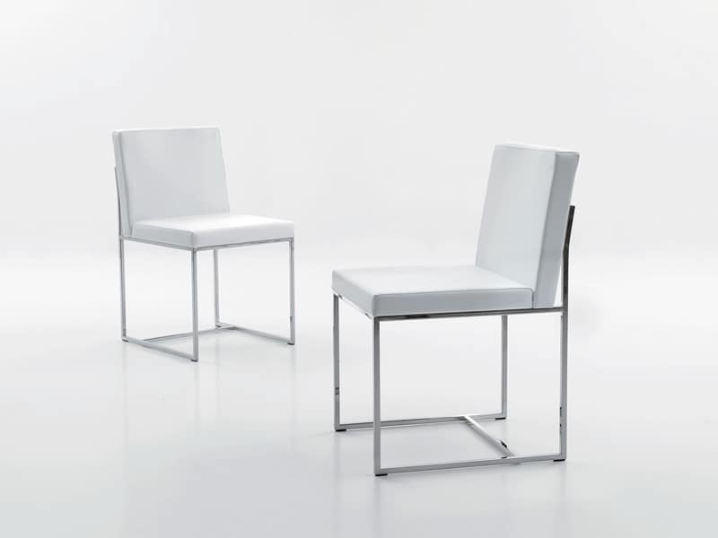 Sedia cromata rivestita in ecopelle per sala attesa for Sedie design metallo