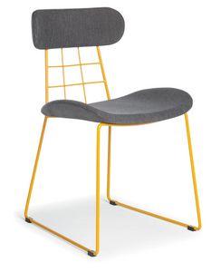 Chloe, Sedia moderna con schienale e seduta rivestiti in tessuto, ideale per bar e cucine moderne