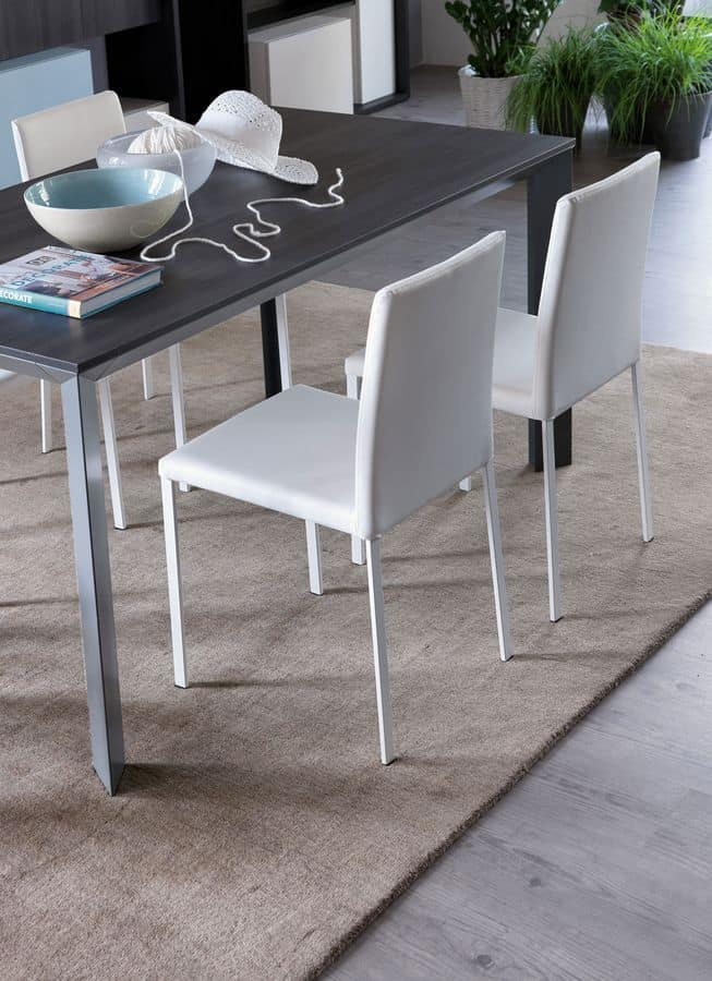 Sedia rivestita in cuoio rigenerato, per cucine moderne | IDFdesign