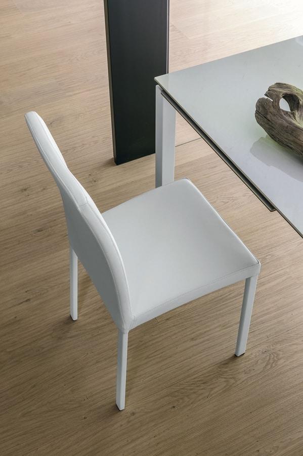 ELISIR SE602, Sedia con scocca imbottita e gambe in metallo cromato
