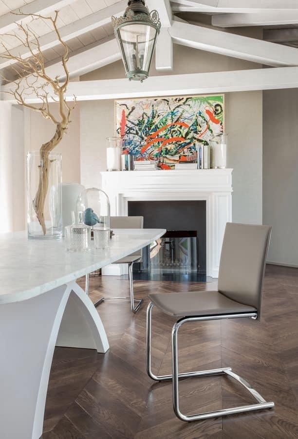 Sedia visitatore in metallo legno e gomma per albergo for Sedie design metallo