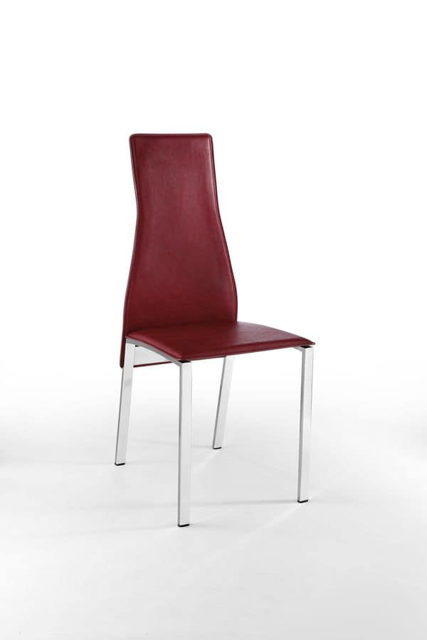 Sedia Moderna In Pelle Schienale Alto Per Sala Da Pranzo