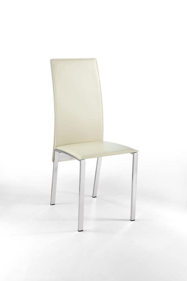 Ibiza sedia pelle metallo per sala da pranzo sedia for Sedie in pelle per sala da pranzo