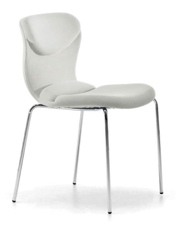 Sedia comoda impilabile base in metallo per salotto for Sedie design italia