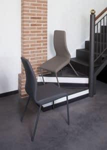 Jacky, Sedia con struttura in metallo, rivestita in tessuto spalmato